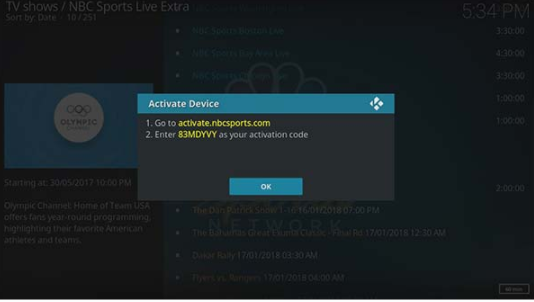 By using Kodi Add-on step Now it will ask you to visit NBC