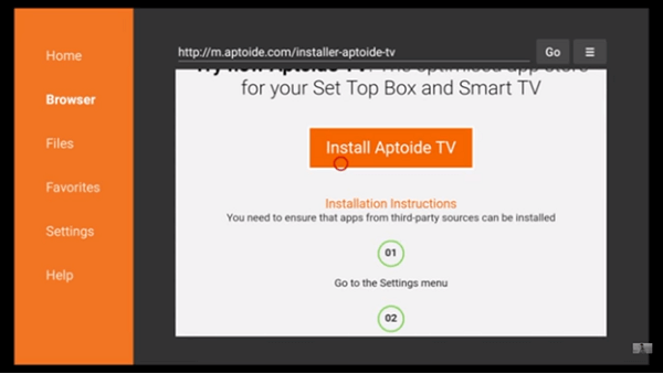 Step 7 Aptoide TV on FireStick using Downloader