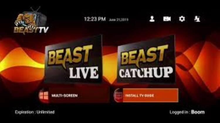 Logging-In-Beast -TV-IPTV-Home-Screen